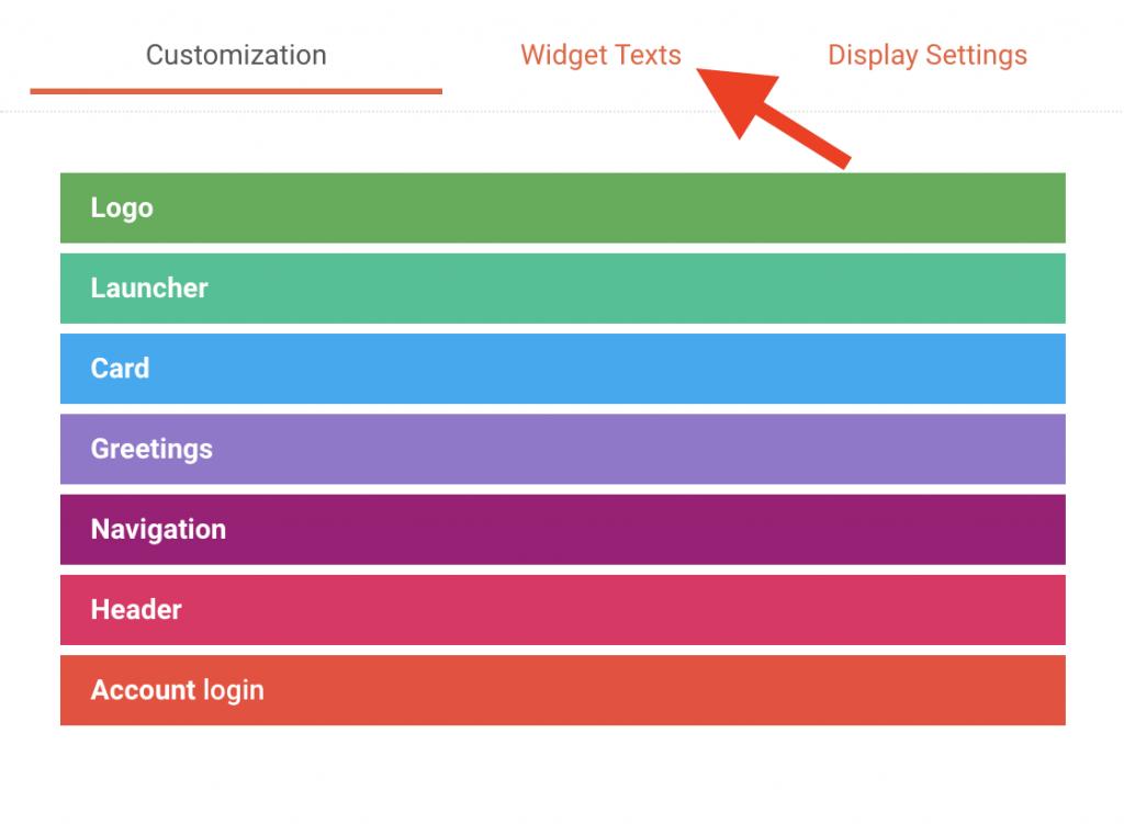 Widfget texts menu