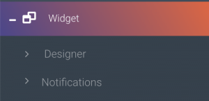Widget designer menu